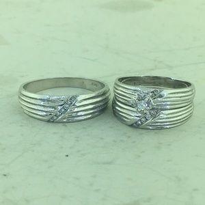 Jewelry - 14K W Gold Diamond His & Her Engagement Bridal Set